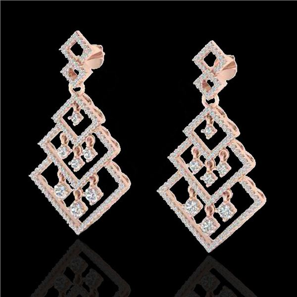 3 ctw Micro Pave VS/SI Diamond Earrings Dangling 14k Rose Gold - REF-290K9Y