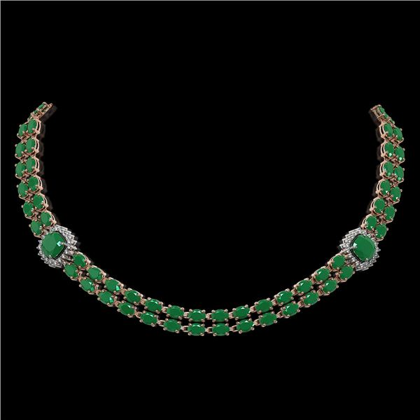 43.97 ctw Emerald & Diamond Necklace 14K Rose Gold - REF-527N3F