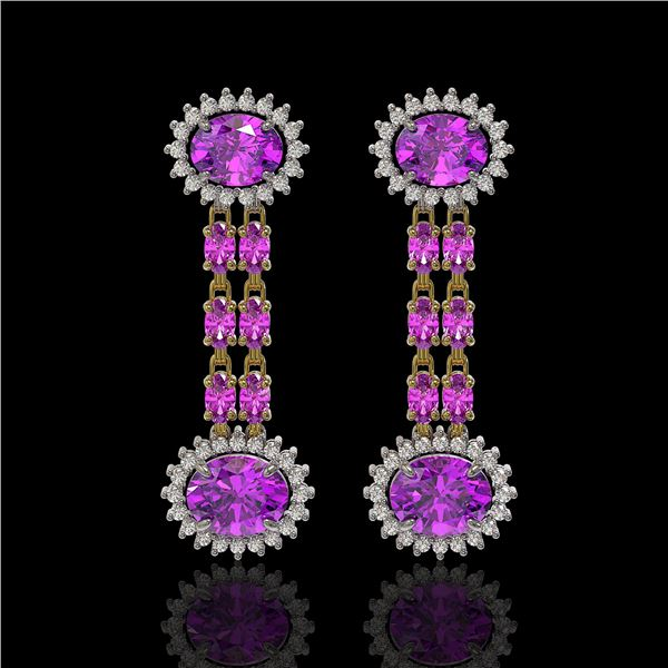8.19 ctw Amethyst & Diamond Earrings 14K Yellow Gold - REF-144R5K