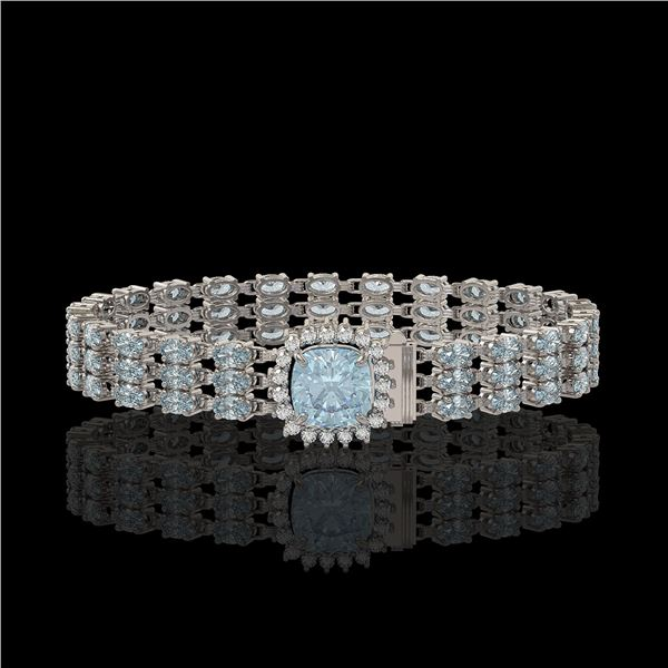 23.78 ctw Aquamarine & Diamond Bracelet 14K White Gold - REF-306Y9X