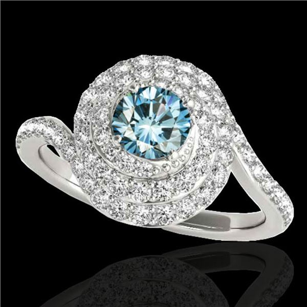 1.86 ctw SI Certified Fancy Blue Diamond Halo Ring 10k White Gold - REF-135M2G