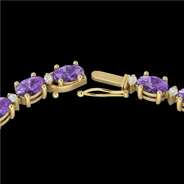 28 ctw Amethyst & VS/SI Diamond Certified Eternity Necklace 10k Yellow Gold - REF-146Y5X