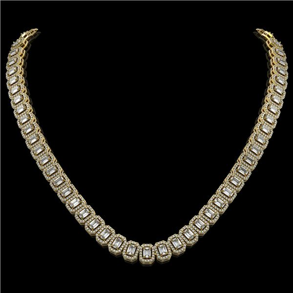26.11 ctw Emerald Cut Diamond Micro Pave Necklace 18K Yellow Gold - REF-3101G2W