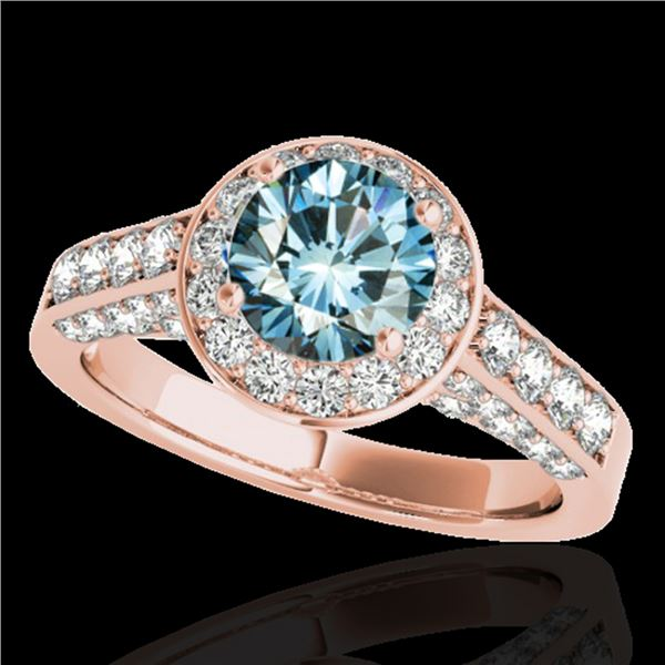 1.8 ctw SI Certified Fancy Blue Diamond Solitaire Halo Ring 10k Rose Gold - REF-163W6H