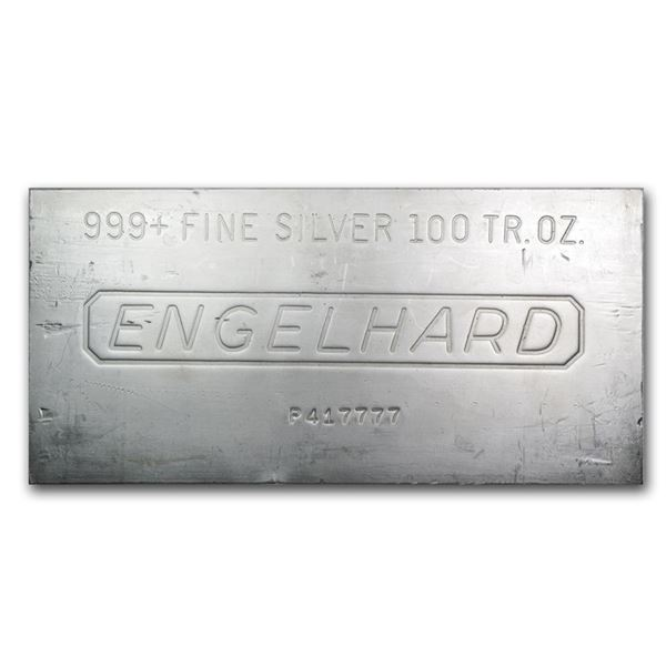 One piece 100 oz 0.999 Fine Silver Bar Engelhard - 62130