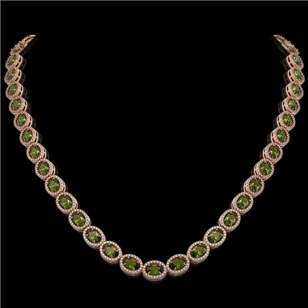 31.1 ctw Tourmaline & Diamond Micro Pave Halo Necklace 10k Rose Gold - REF-600Y2X