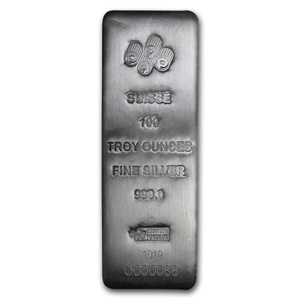 One piece 100 oz 0.999 Fine Silver Bar PAMP Suisse - 196345