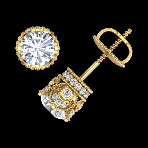1.85 ctw VS/SI Diamond Solitaire Art Deco Stud Earrings 18k Yellow Gold - REF-261K8Y