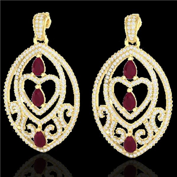 7 ctw Ruby & Micro Pave VS/SI Diamond Heart Earrings 18k Yellow Gold - REF-418Y2X