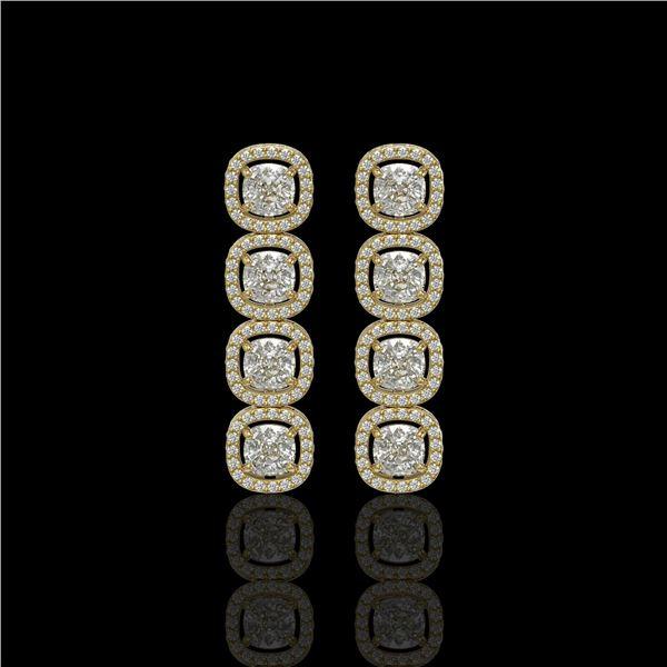 5.28 ctw Cushion Cut Diamond Micro Pave Earrings 18K Yellow Gold - REF-668N2F
