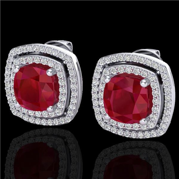 4.95 ctw Ruby & Micro Pave VS/SI Diamond Earrings 18k White Gold - REF-125R5K