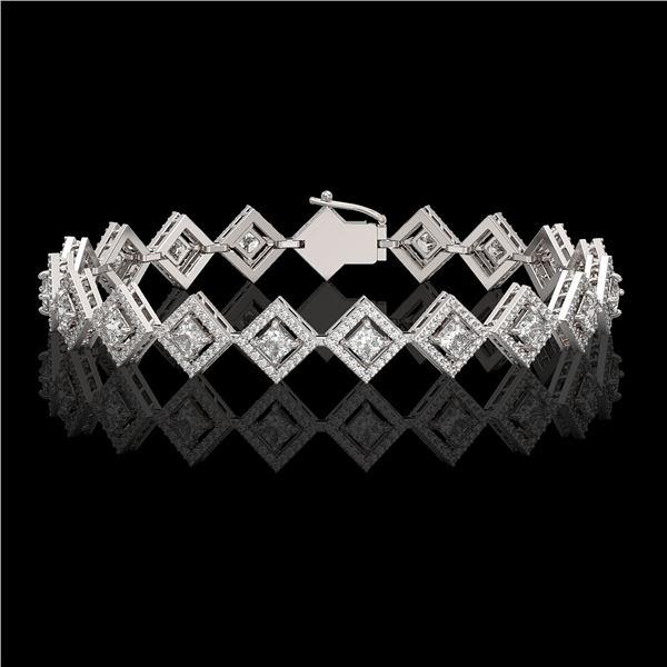 7.2 ctw Princess Cut Diamond Micro Pave Bracelet 18K White Gold - REF-617M3G
