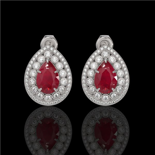 9.74 ctw Certified Ruby & Diamond Victorian Earrings 14K White Gold - REF-254X4A