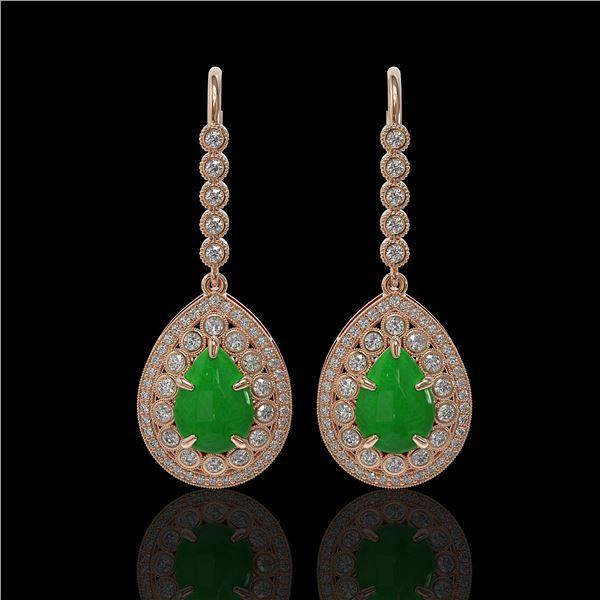 8.15 ctw Jade & Diamond Victorian Earrings 14K Rose Gold - REF-241K6Y