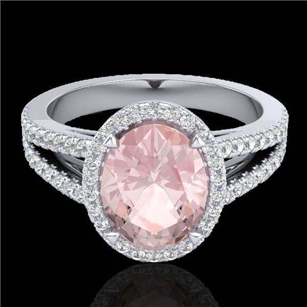 3 ctw Morganite & Micro VS/SI Diamond Halo Ring 18k White Gold - REF-86K2Y