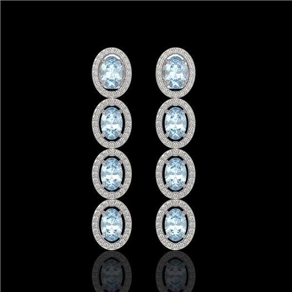 4.68 ctw Aquamarine & Diamond Micro Pave Halo Earrings 10k White Gold - REF-143K6Y