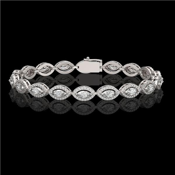 6.91 ctw Marquise Cut Diamond Micro Pave Bracelet 18K White Gold - REF-599X6A