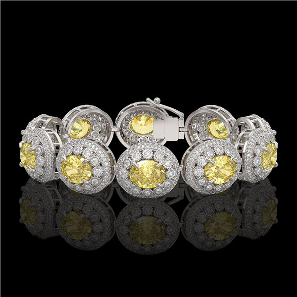40.37 ctw Canary Citrine & Diamond Victorian Bracelet 14K White Gold - REF-1186Y4X