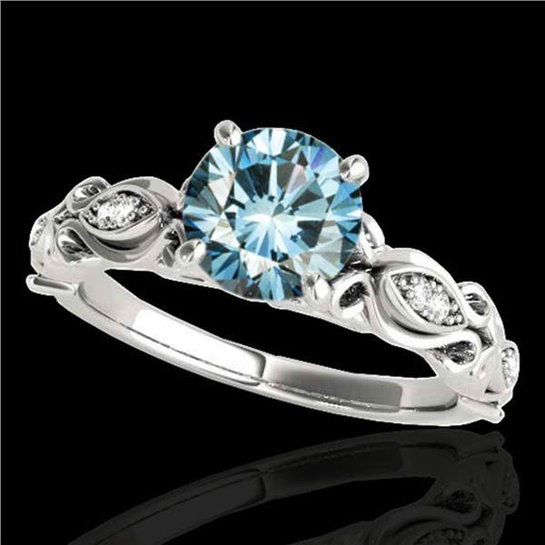 1.1 ctw SI Certified Fancy Blue Diamond Antique Ring 10k White Gold - REF-117M3G