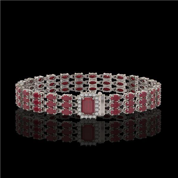 28.74 ctw Ruby & Diamond Bracelet 14K White Gold - REF-318M2G