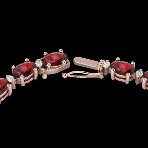46.5 ctw Garnet & VS/SI Certified Diamond Eternity Necklace 10k Rose Gold - REF-245F5M