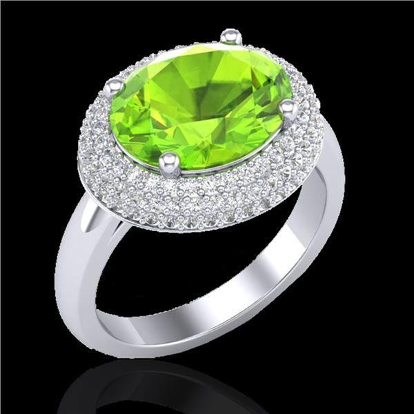 4.50 ctw Peridot & Micro Pave VS/SI Diamond Ring 18k White Gold - REF-116Y2X