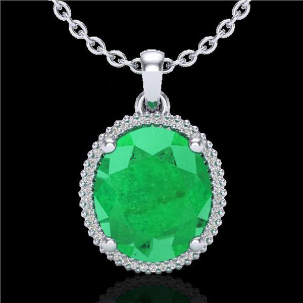 12 ctw Emerald & Micro Pave VS/SI Diamond Necklace 18k White Gold - REF-140Y9X
