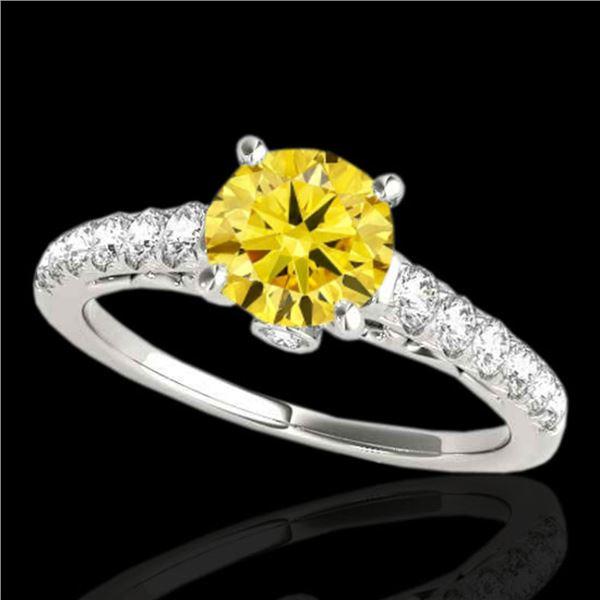 1.5 ctw Certified SI/I Fancy Intense Yellow Diamond Ring 10k White Gold - REF-197X8A
