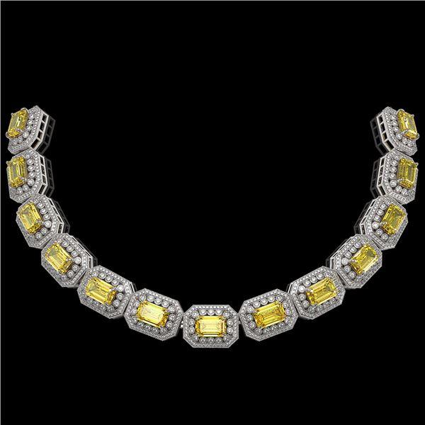 110.45 ctw Canary Citrine & Diamond Victorian Necklace 14K White Gold - REF-2357F6M