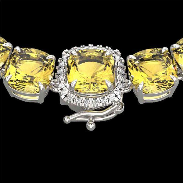 87 ctw Citrine & Diamond Micro Pave Necklace 14k White Gold - REF-335X6A