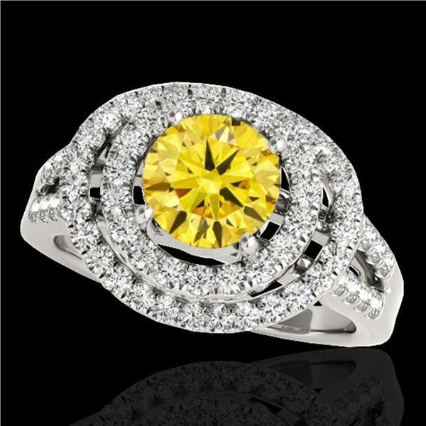 1.75 ctw Certified SI/I Fancy Intense Yellow Diamond Ring 10k White Gold - REF-211M4G