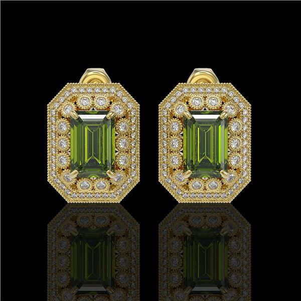 12.99 ctw Tourmaline & Diamond Victorian Earrings 14K Yellow Gold - REF-346Y2X