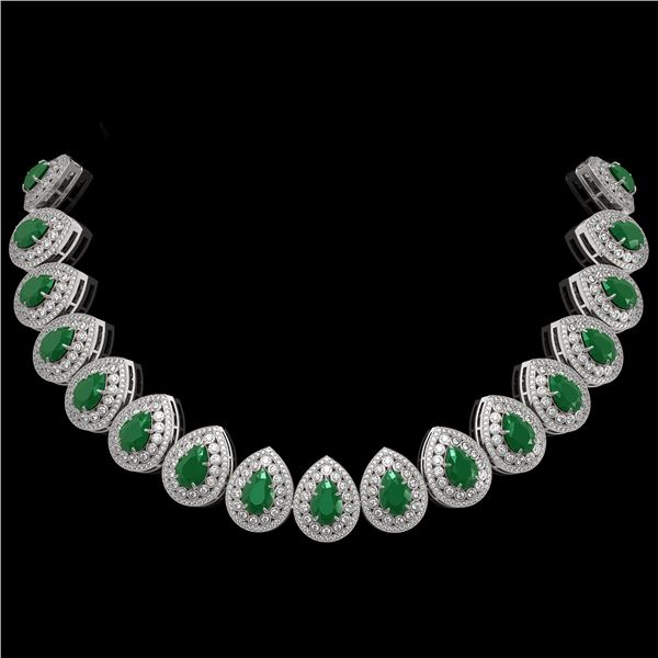 121.42 ctw Emerald & Diamond Victorian Necklace 14K White Gold - REF-3909F3M
