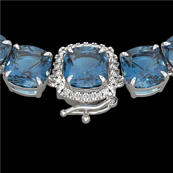 87 ctw London Blue Topaz & Diamond Micro Necklace 14k White Gold - REF-317W6H