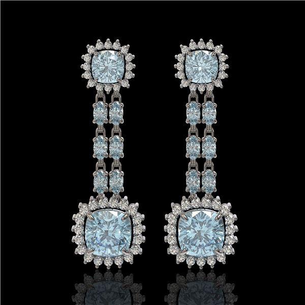 16.22 ctw Aquamarine & Diamond Earrings 14K White Gold - REF-321G3W