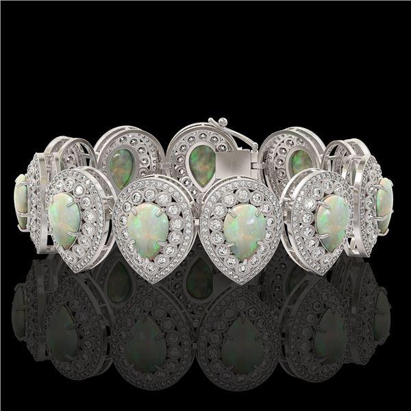 46.44 ctw Certified Opal & Diamond Victorian Bracelet 14K White Gold - REF-1468F4M