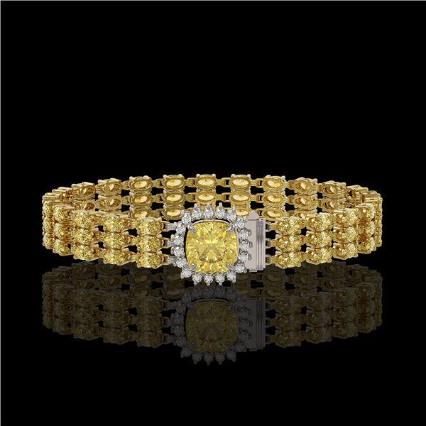 25.15 ctw Citrine & Diamond Bracelet 14K Yellow Gold - REF-281G8W