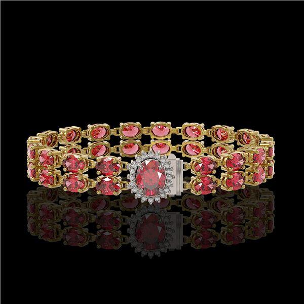 16.97 ctw Tourmaline & Diamond Bracelet 14K Yellow Gold - REF-263K6Y