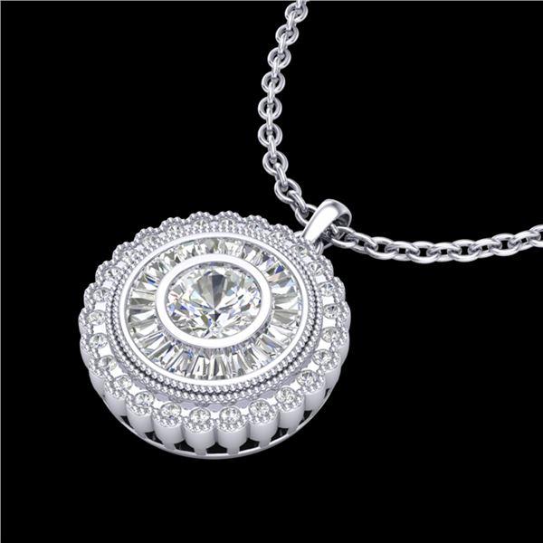 2.11 ctw VS/SI Diamond Solitaire Art Deco Stud Necklace 18k White Gold - REF-309X3A
