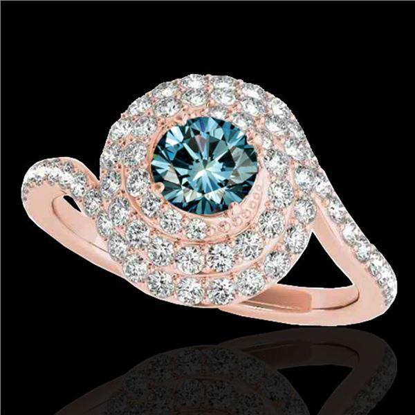 2.11 ctw SI Certified Fancy Blue Diamond Halo Ring 10k Rose Gold - REF-193Y6X