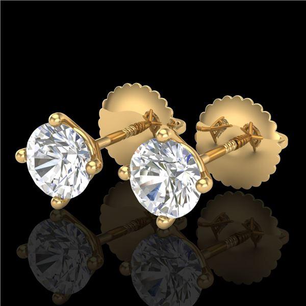 1.01 ctw VS/SI Diamond Solitaire Art Deco Stud Earrings 18k Yellow Gold - REF-121M5G