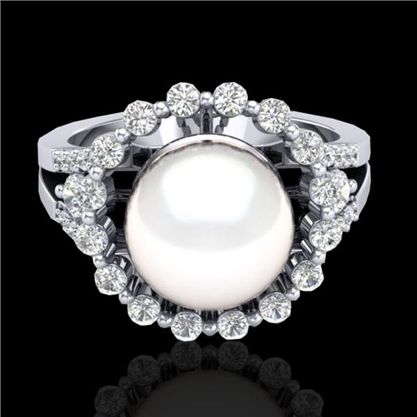 0.83 CT Micro Pave VS/SI Diamond Certified & Pearl Ring 18k White Gold - REF-85A5N