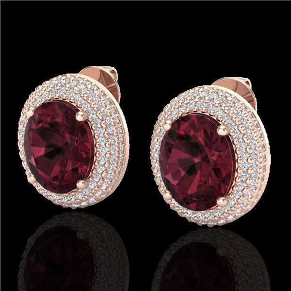 9 ctw Garnet & Micro Pave VS/SI Diamond Earrings 14k Rose Gold - REF-142Y5X