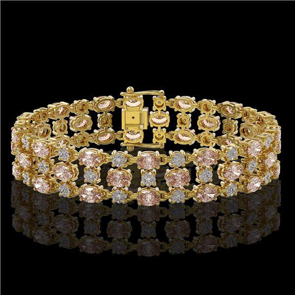 18.05 ctw Morganite & Diamond Bracelet 10K Yellow Gold - REF-318G2W