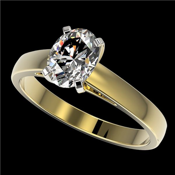 1.25 ctw Certified VS/SI Quality Oval Diamond Ring 10k Yellow Gold - REF-304K6Y