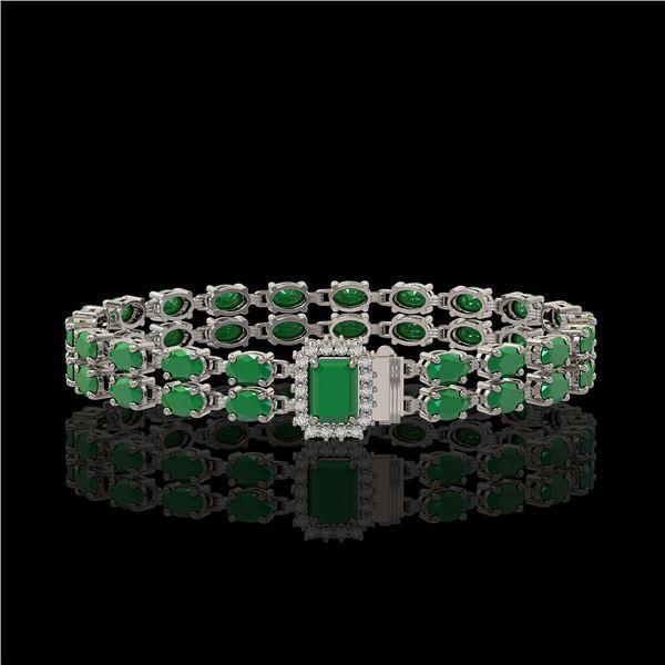 19.07 ctw Emerald & Diamond Bracelet 14K White Gold - REF-236N4F