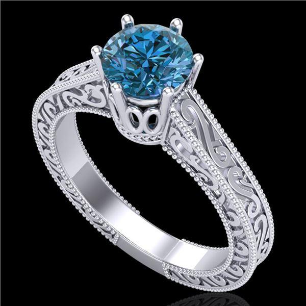 1 ctw Intense Blue Diamond Engagment Art Deco Ring 18k White Gold - REF-200G2W