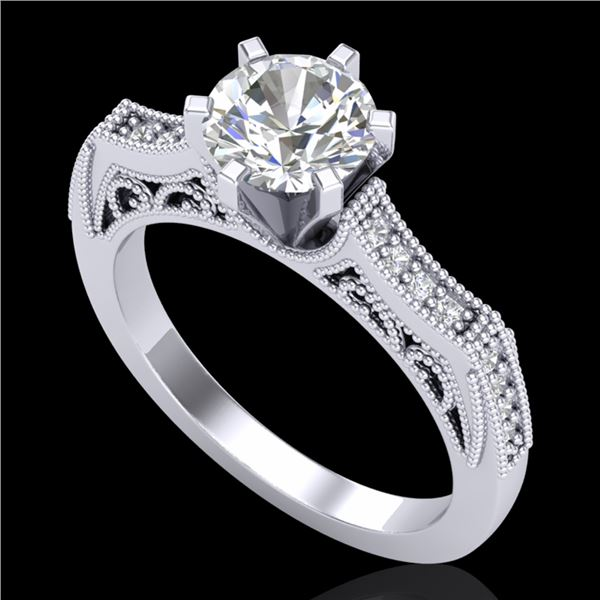 1.25 ctw VS/SI Diamond Solitaire Art Deco Ring 18k White Gold - REF-400M2G