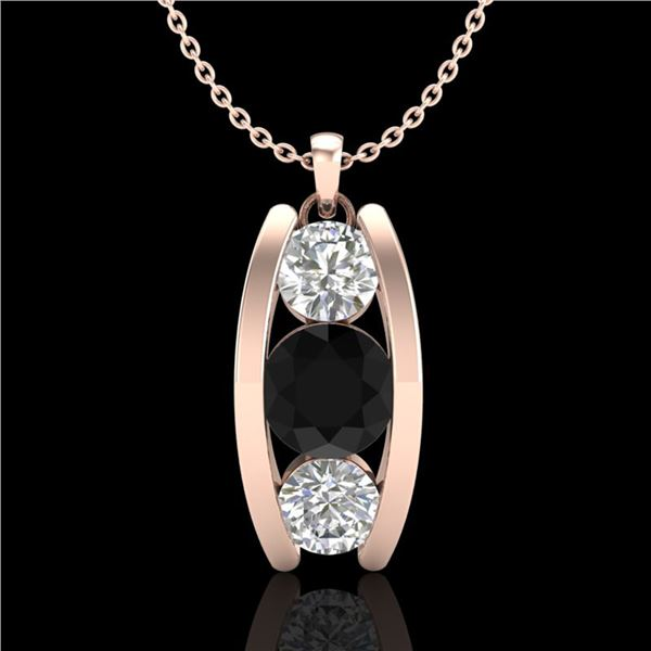 1.07 ctw Fancy Black Diamond Art Deco Stud Necklace 18k Rose Gold - REF-101M8G