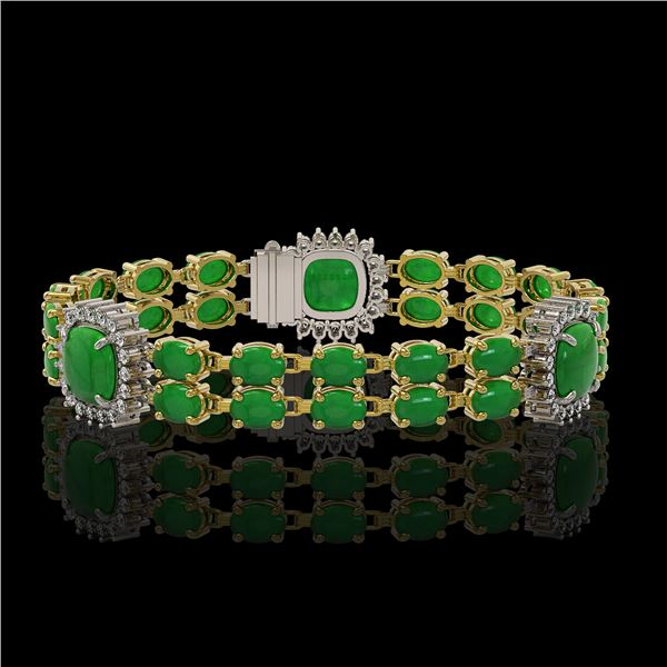 15.79 ctw Jade & Diamond Bracelet 14K Yellow Gold - REF-263M6G